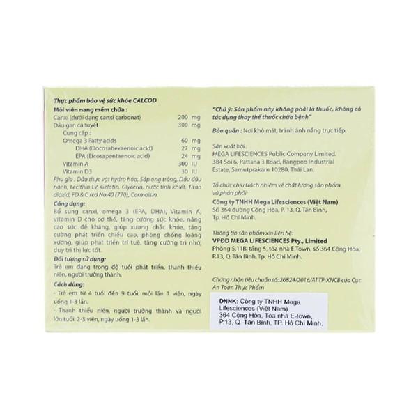 Viên Uống Bổ Sung Canxi Calcod Mega 30 Viên