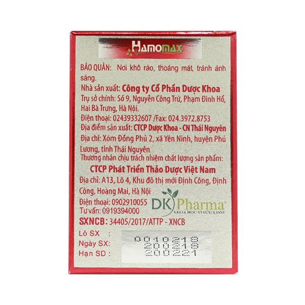 Viên Uống Hỗ Trợ Hạ Mỡ Máu Hamomax Dk Pharma 30 Viên