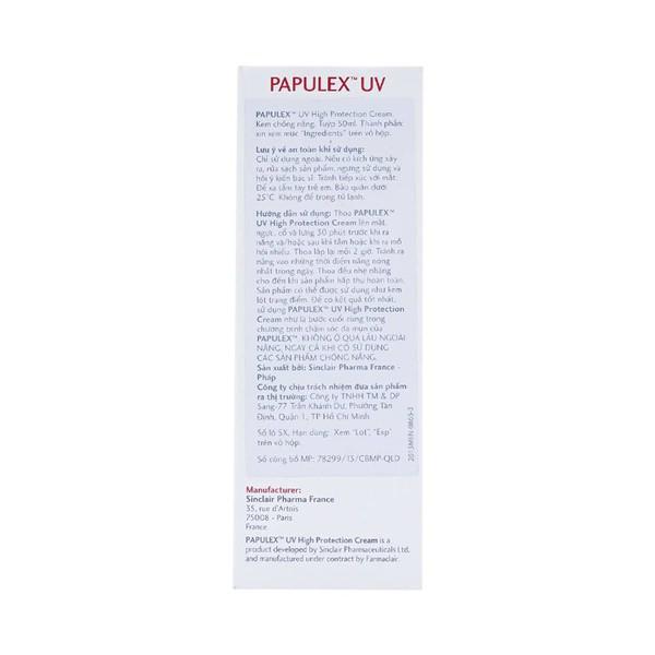 Kem Chống Nắng Papulex Uv High Protection Cream Spf45+ 50Ml
