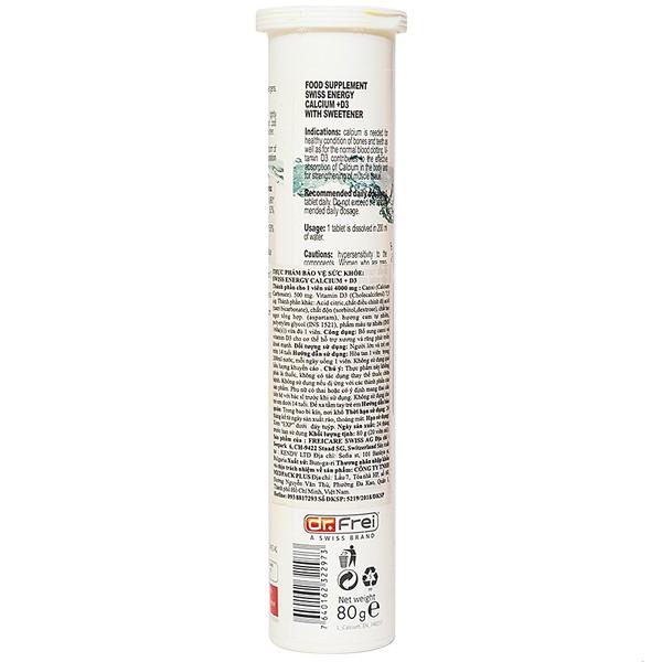 Viên Sủi Bổ Sung Calcium + Vitamin D3 Swiss Energy 20 Viên