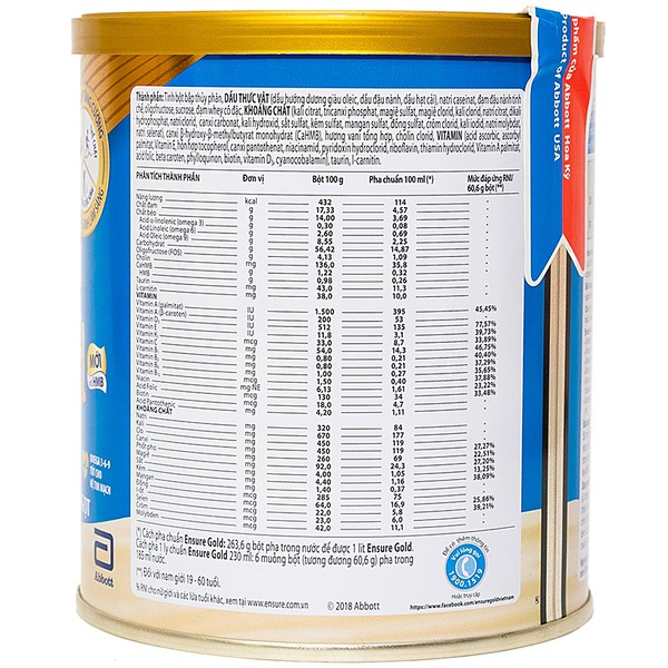 Sữa  Abbott Ensure Gold Hương Vani Ít Ngọt 400G